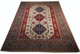 21514-Kazak Hand-Knotted/Handmade Afghan Rug/Carpet Tribal/Nomadic Authentic