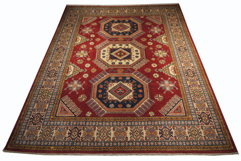 21516-Kazak Hand-Knotted/Handmade Afghan Rug/Carpet Tribal/Nomadic Authentic