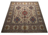 21563-Kazak Hand-Knotted/Handmade Afghan Rug/Carpet Tribal/Nomadic Authentic