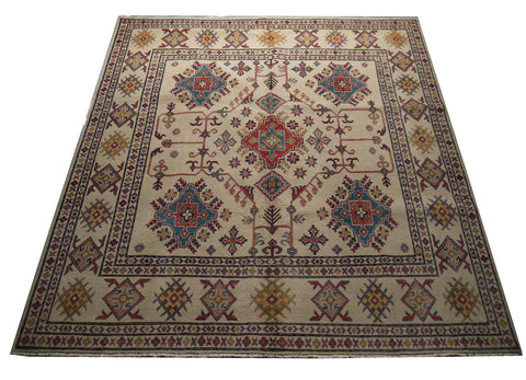 "21563-Kazak Hand-Knotted/Handmade Afghan Rug/Carpet Tribal/Nomadic Authentic  6'5"" x 6'7"""