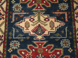 21591-Kazak Hand-Knotted/Handmade Afghan Rug/Carpet Tribal/Nomadic Authentic
