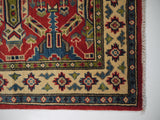 21597-Kazak Hand-Knotted/Handmade Afghan Rug/Carpet Tribal/Nomadic Authentic