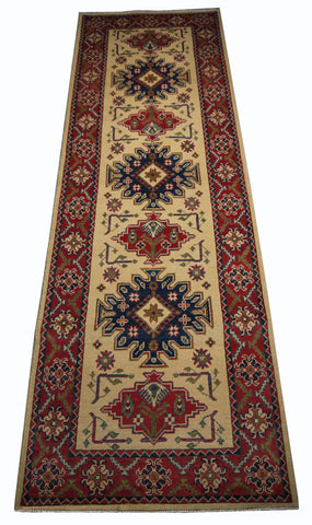 "21600-Kazak Hand-Knotted/Handmade Afghan Rug/Carpet Tribal/Nomadic Authentic/ Size 8'4"" x 3'0"""