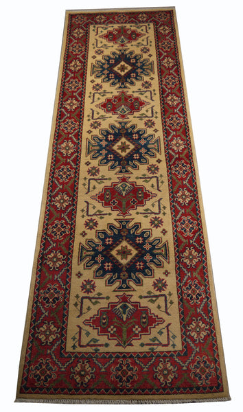 21601-Kazak Hand-Knotted/Handmade Afghan Rug/Carpet Tribal/Nomadic Authentic