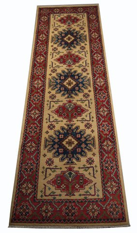 "21601-Kazak Hand-Knotted/Handmade Afghan Rug/Carpet Tribal/Nomadic Authentic/ Size 8'4"" x 2'8"""