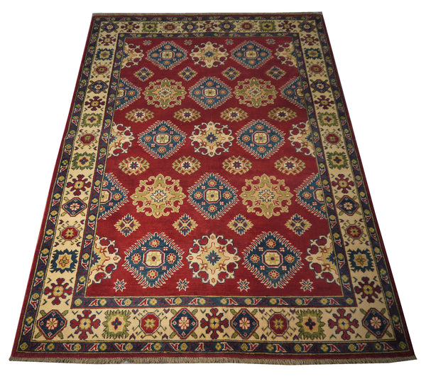21603-Kazak Hand-Knotted/Handmade Afghan Rug/Carpet Tribal/Nomadic Authentic