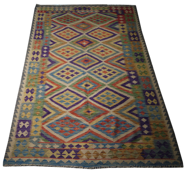 "21647 - Kelim Hand-Knotted/Handmade Afghan Rug/Carpet Tribal/Nomadic Authentic/ Size 8'1"" x 5'2"""