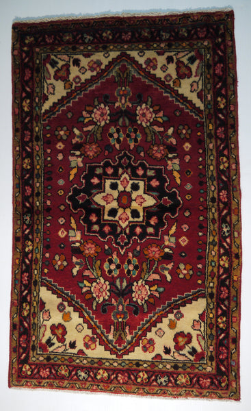 "21709 - Hamadan Hand-Knotted/Handmade Persian Rug/Carpet Traditional Authentic/Size 4'3"" x 2'5"""