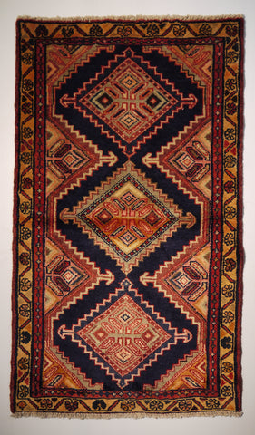 "21718 - Hamadan Hand-Knotted/Handmade Persian Rug/Carpet Traditional Authentic/Size 4'1"" x 2'4"""