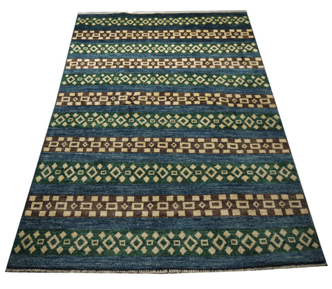 "21731-Chobi Ziegler Hand-knotted/Handmade Afghan Rug/Carpet Traditional Authentic/Size 7'0"" x 5'0"""