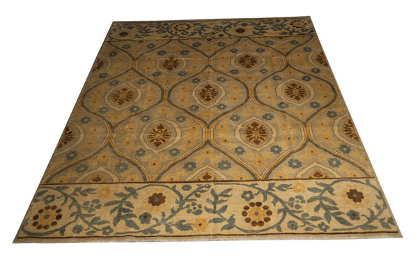 "21763 - Chobi Ziegler Hand-Knotted/Handmade Afghan Rug/Carpet Modern Authentic/Size 9'8"" x 8'2"""