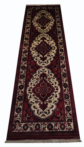 "21917-Kazak Hand-Knotted/Handmade Afghan Rug/Carpet Tribal/Nomadic Authentic/Size 9'0"" x 2'1"""