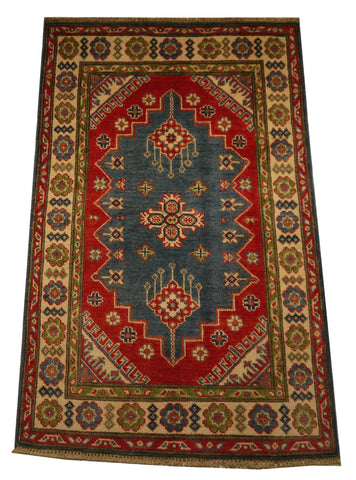 21961 - Kazak Hand-Knotted/Handmade Afghan Rug/Carpet Traditional Authentic