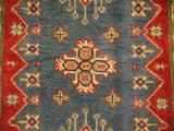 "21961 - Kazak Hand-Knotted/Handmade Afghan Rug/Carpet Traditional Authentic/Size 4'2"" x 2'8"""