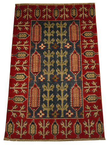 21963 - Kazak Hand-Knotted/Handmade Afghan Rug/Carpet Traditional Authentic