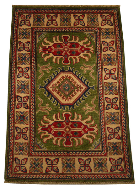 21972 - Kazak Hand-Knotted/Handmade Afghan Rug/Carpet Traditional Authentic