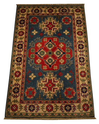 21976 - Kazak Hand-Knotted/Handmade Afghan Rug/Carpet Traditional Authentic