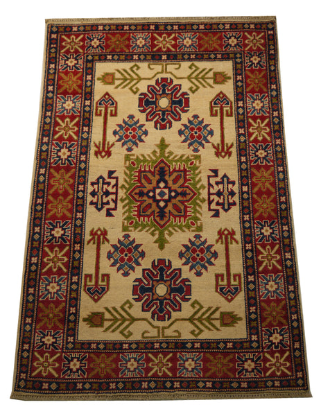 "21979 - Kazak Hand-Knotted/Handmade Afghan Rug/Carpet Traditional Authentic/Size 5'0"" x 3'3"""