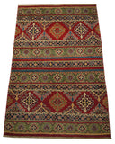 21985 - Kazak Hand-Knotted/Handmade Afghan Rug/Carpet Traditional Authentic