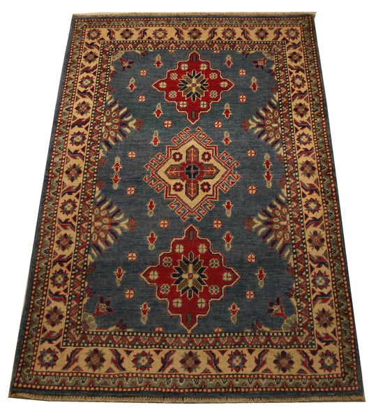 21994 - Kazak Hand-Knotted/Handmade Afghan Rug/Carpet Traditional Authentic/Size 4'10 x 3'4""