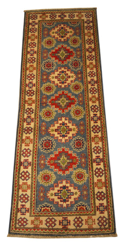 "22022 - Kazak Hand-Knotted/Handmade Afghan Rug/Carpet Traditional Authentic/Size 5'9"" x 2'0"""