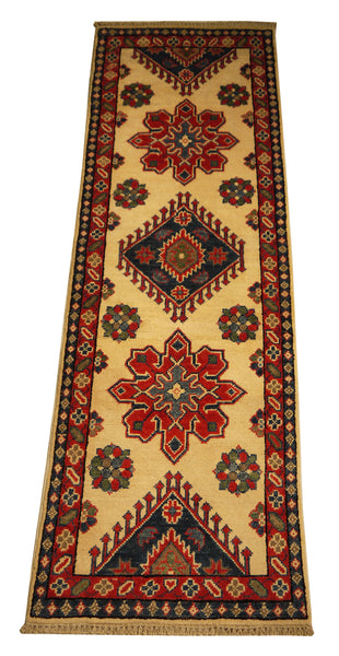 "22039 - Kazak Hand-Knotted/Handmade Afghan Rug/Carpet Traditional Authentic/Size 6'0"" x 2'0"""