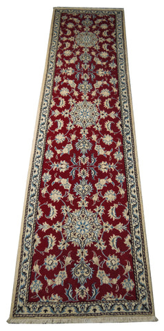 "22056 - Nain Hand-Knotted/Handmade Persian Rug/Carpet Traditional Authentic/Size 10'0"" x 2'7"""