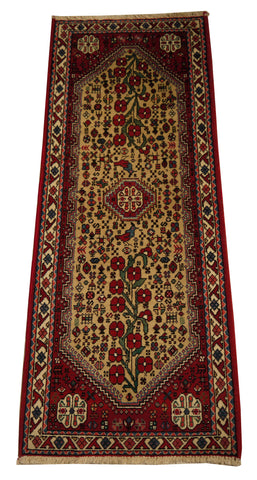 "22069 - Abadeh Hand-Knotted/Handmade Persian Rug/Carpet Traditional Authentic/Size 5'1"" x 2'1"""