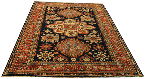 "22462 - Kazak Hand-Knotted/Handmade Afghan Tribal/Nomadic Authentic/Size 6'9"" 4'9"""