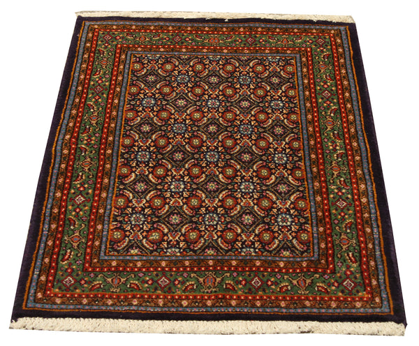 "22215 - Moud Handmade/Hand-Knotted Persian Rug/Carpet Authentic/Size 2'9"" x 1'9"""