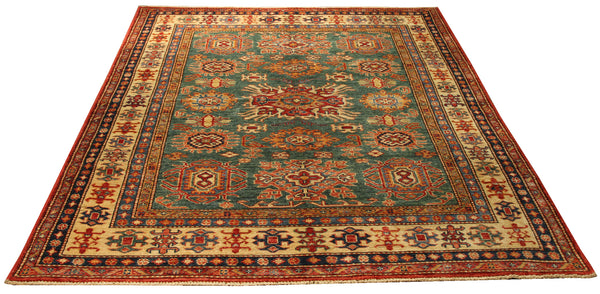 "22465 - Kazak Hand-Knotted/Handmade Afghan Tribal/Nomadic Authentic/Size 6'7"" x 4'10"""
