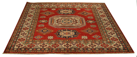 "22460 - Kazak Hand-Knotted/Handmade Afghan Tribal/Nomadic Authentic/Size 5'5"" x 5'1"""