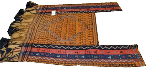 "14658 - Turkoman Russian Hand-weaved Antique Authentic/Traditional Nomadic/Tribal Horse-blanket 5'1"" x 4'2"""