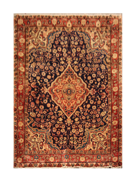 "23007 - Hamadan Hand-Knotted/Handmade Persian Rug/Carpet Traditional Authentic/Size 4'11"" x 3'7"""