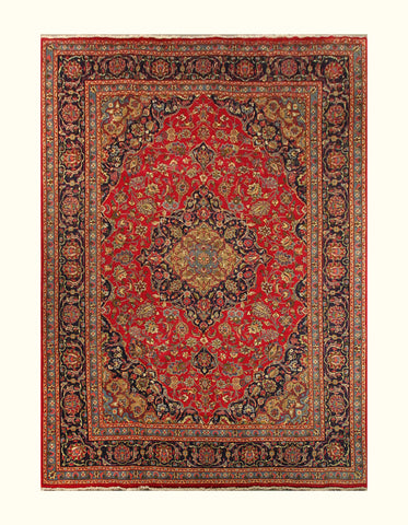 "23038 - Mashad Handmade/Hand-Knotted Persian Rug/Carpet Authentic/Size 11'6"" x 8'5"""