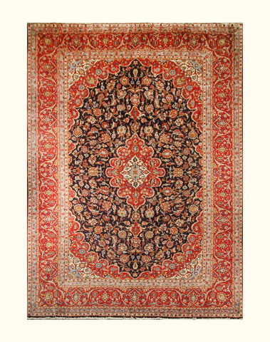 "23024 - Kashan Handmade/Hand-Knotted Persian Rug/Carpet Authentic/Size 13'5"" x 10'3"""