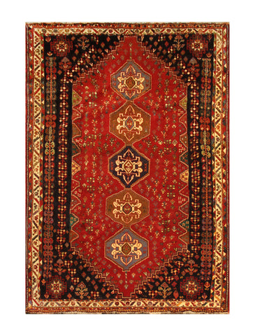 "22843 - Shiraz Persian Hand-weaved Authentic/Traditional Nomadic/Tribal Kelim/Size 8'7"" x 5'7"""