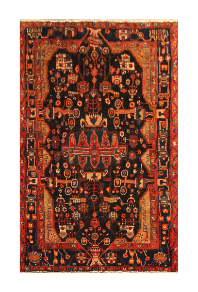 "22845 - Hamadan Hand-Knotted/Handmade Persian Rug/Carpet Traditional Authentic/Size 8'6"" x 5'1"""