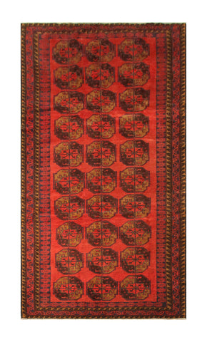 "23109 - Balutch Hand-Knotted/Handmade Afghan Rug/Carpet Tribal/Nomadic Authentic/Size 12'0"" x 4'9"""