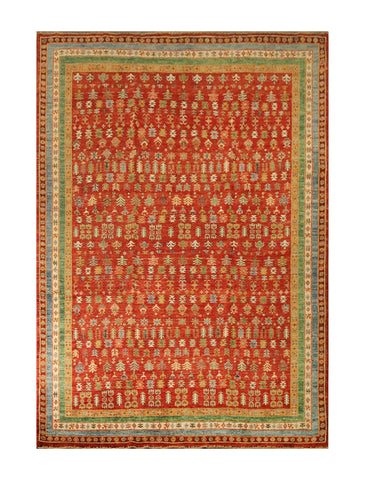 "23091 - Chobi Ziegler Afghan Hand-knotted Contemporary/Modern Carpet/Rug/Size 9'8"" x 6'10"""