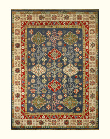 "23162 - Kazak Hand-Knotted/Handmade Afghan Tribal/Nomadic Authentic/Size 12'2"" x 9'0"""