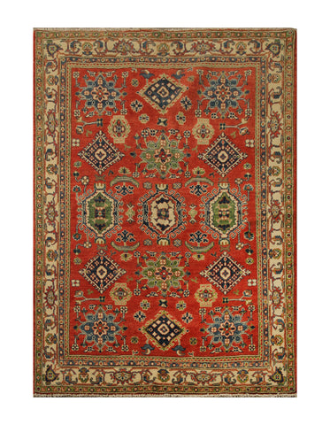 "23185 - Kazak Hand-Knotted/Handmade Afghan Tribal/Nomadic Authentic/Size 6'9"" x 5'0"""