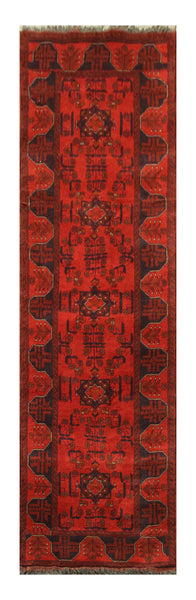 "23372- Khal Mohammad Afghan Hand-Knotted Authentic/Traditional Nomadic/Tribal Carpet/Rug/Size 9'5"" x 2'7"""