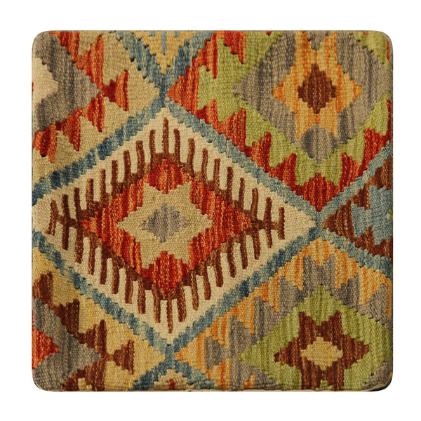 "23208 - Kelim Hand-Knotted/Handmade Afghan Kelim Pillow Cover/Carpet Tribal/Nomadic Authentic/Size 1'8"" x 1'8"""