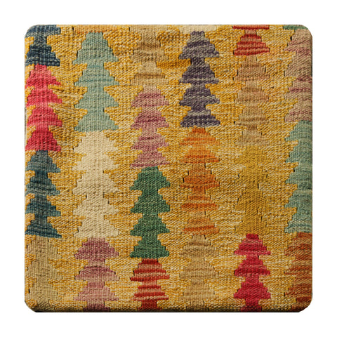 "23245 - Kelim Hand-Knotted/Handmade Afghan Kelim Pillow Cover/Carpet Tribal/Nomadic Authentic/Size 1'8"" x 1'8"""