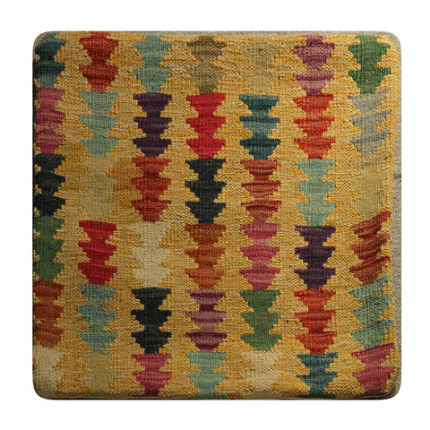 "23237 - Kelim Hand-Knotted/Handmade Afghan Kelim pillow cover/Carpet Tribal/Nomadic Authentic/Size 1'8"" x 1'8"""