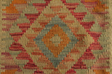 "23206 - Kelim Hand-Knotted/Handmade Afghan Kelim Pillow Cover/Carpet Tribal/Nomadic Authentic/Size 1'8"" x 1'8"""