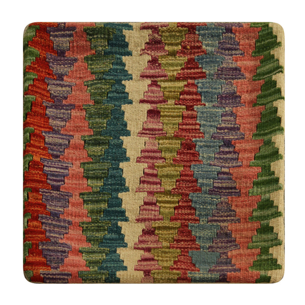 "23247 - Kelim Hand-Knotted/Handmade Afghan Kelilm Pillow Cover/Carpet Tribal/Nomadic Authentic/Size 1'8"" x 1'8"""