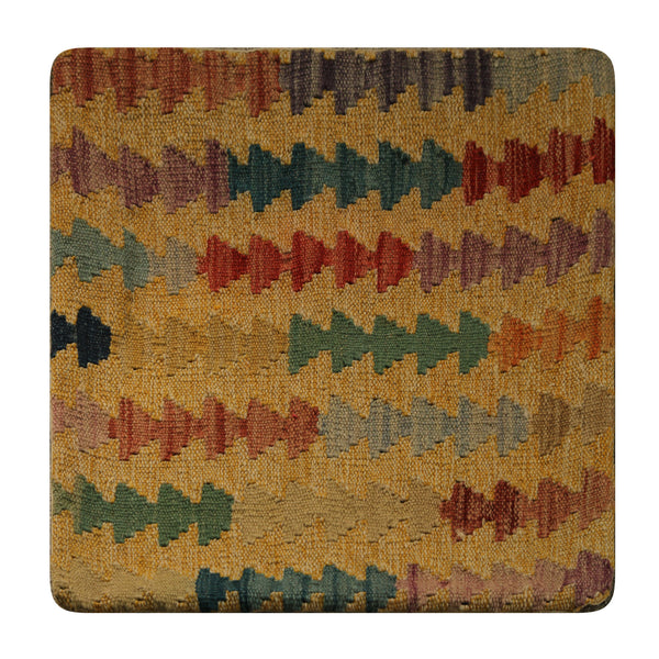 "23329 - Kelim Hand-Knotted/Handmade Afghan kelim pillow Cover/Carpet Tribal/Nomadic Authentic/Size 1'8"" x 1'8"""
