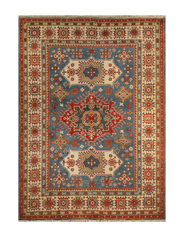"23167 - Kazak Hand-Knotted/Handmade Afghan Tribal/Nomadic Authentic/Size 6'9"" x 4'11"""